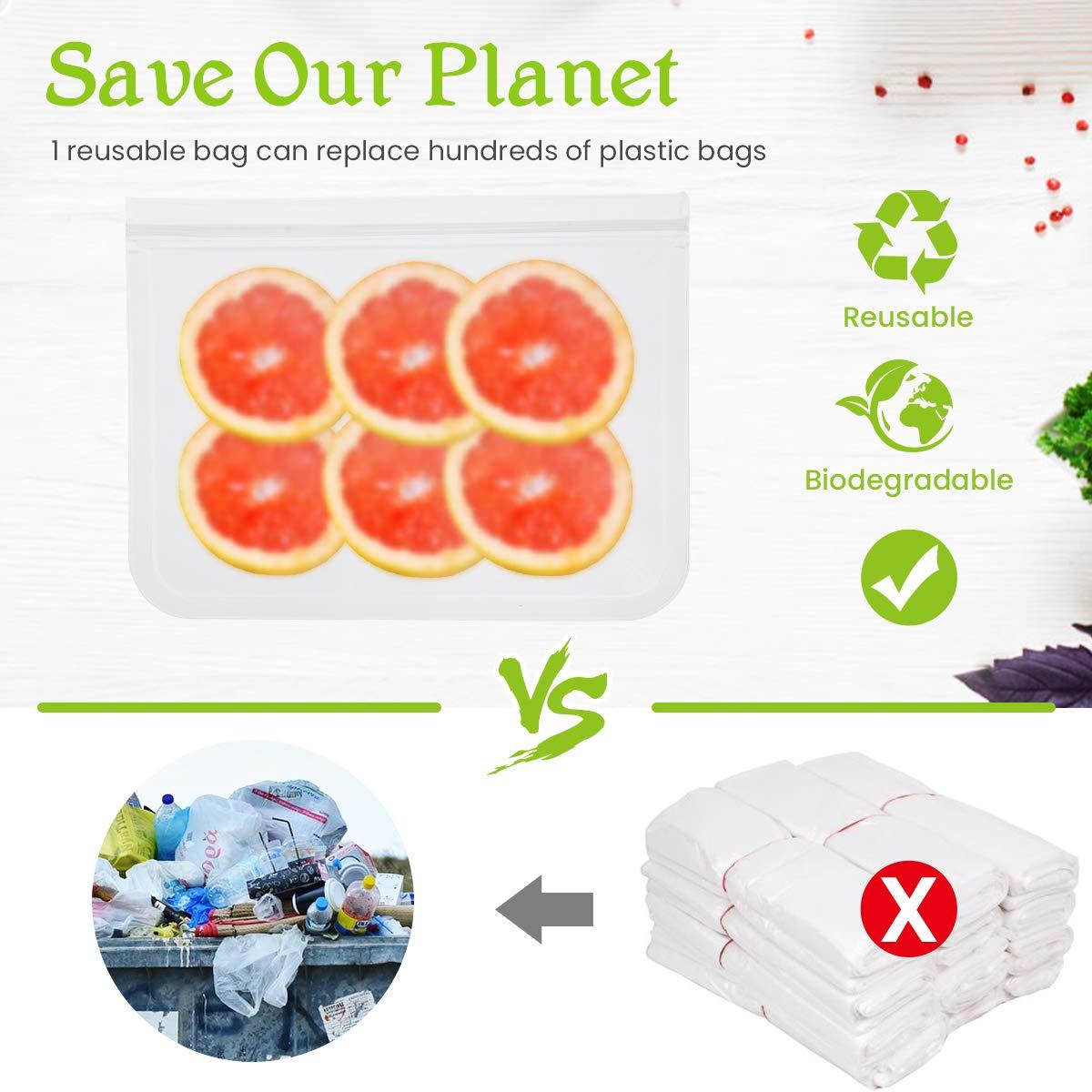 Godmorn Bolsas de Almacenamiento de Alimentos Reutilizables,Biodegradables,Bolsas de Congelaci/ón Reutilizables,10Paquetes Bolsas para Almacenar S/ándwiches,Verduras,Frutas.A Prueba de Fugas,Sin BPA