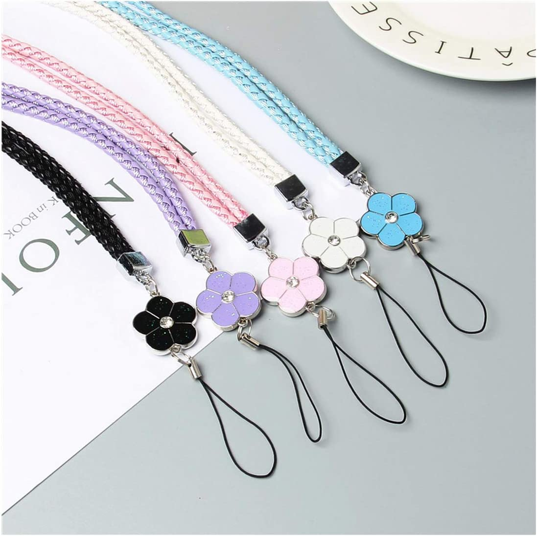 Cute Flower Colorful Mobile Phone Lanyard Phone Strapsk Hanging Rope Card USB Holder Chain Keychain Cords,Black