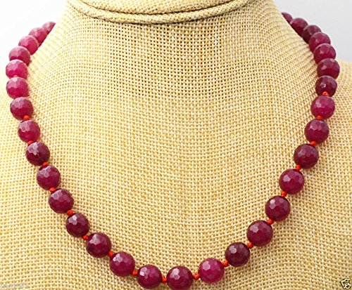 (10MM Natural Faceted Red Ruby Round Gemstone Beads Necklace 18'' AAA)