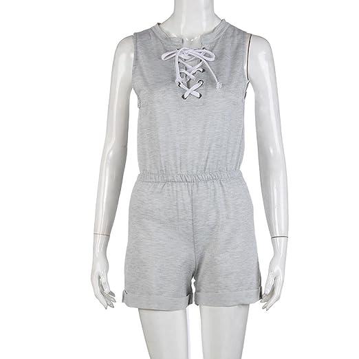 8eb61c9dfc2f Amazon.com  Bravetoshop Women Criss Cross Bandage Jumpsuits Sleeveless  Shorts Playsuits  Clothing
