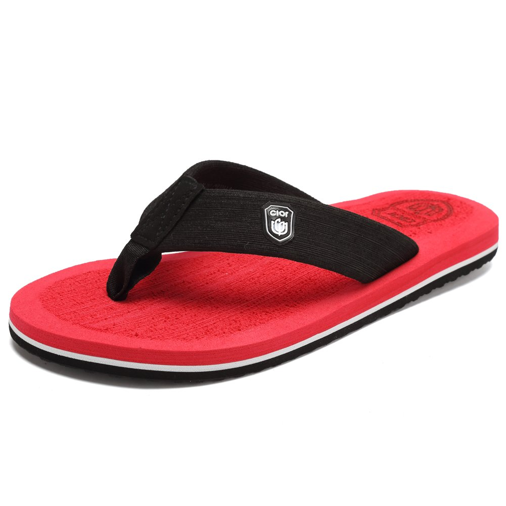 CIOR Men's Classical Flip-Flop Beach Slipper Thong Sandals Comfortable Handmade Fashion Indoor and Outdoor