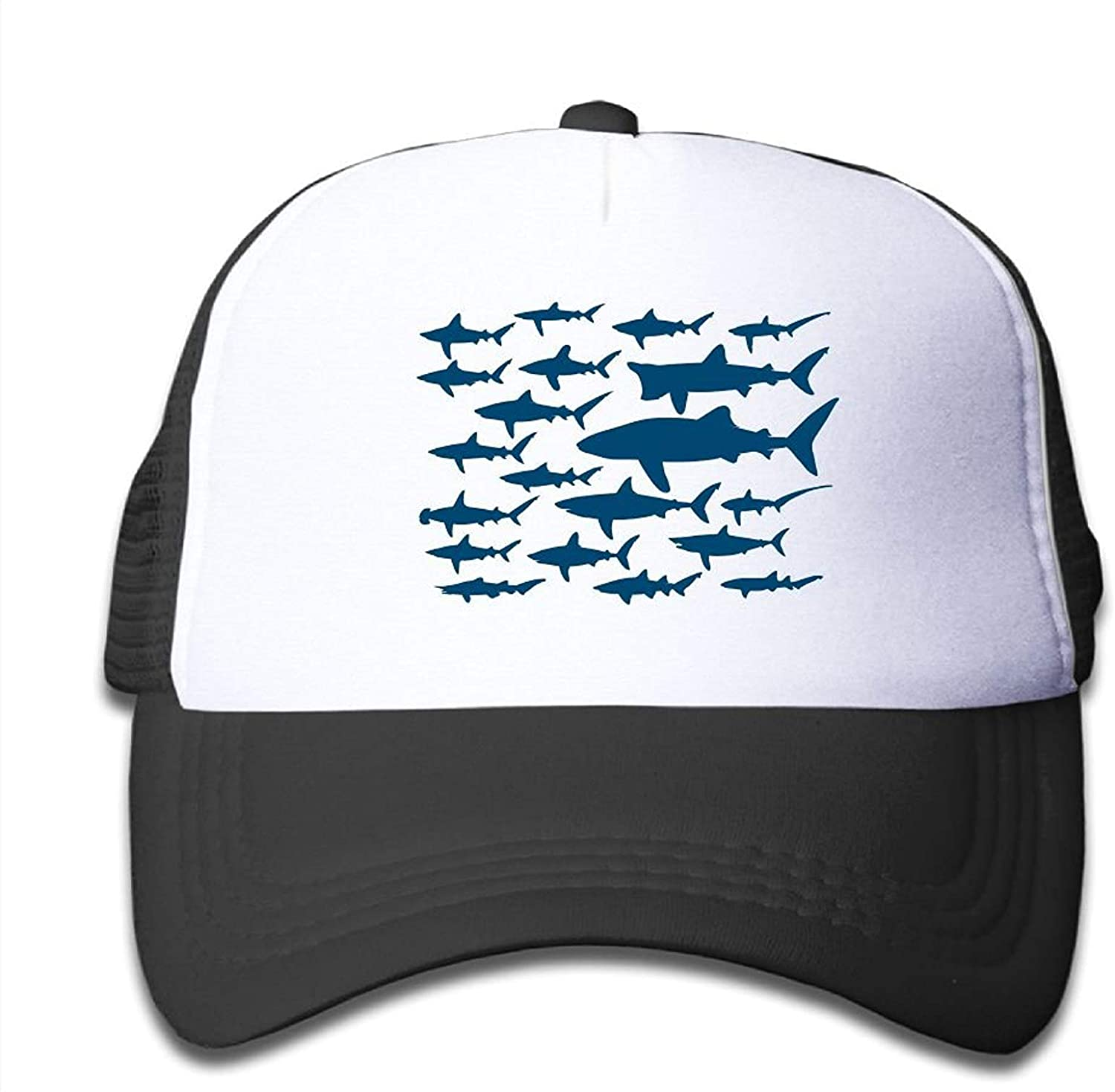 Ocean Shark Floral Sea Fish Youth Adjustable Mesh Hats Baseball Trucker Cap for Boys and Girls
