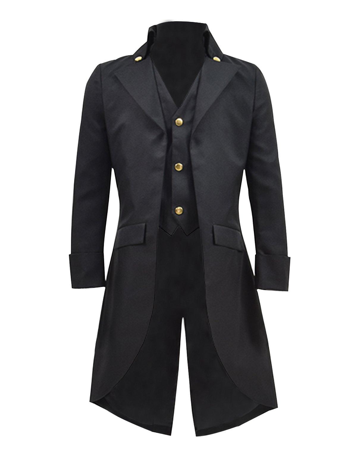 Very Last Shop Boys Gothic Tailcoat Jacket Black Steampunk Victorian Long Coat Vampire Costume (Black, 10)