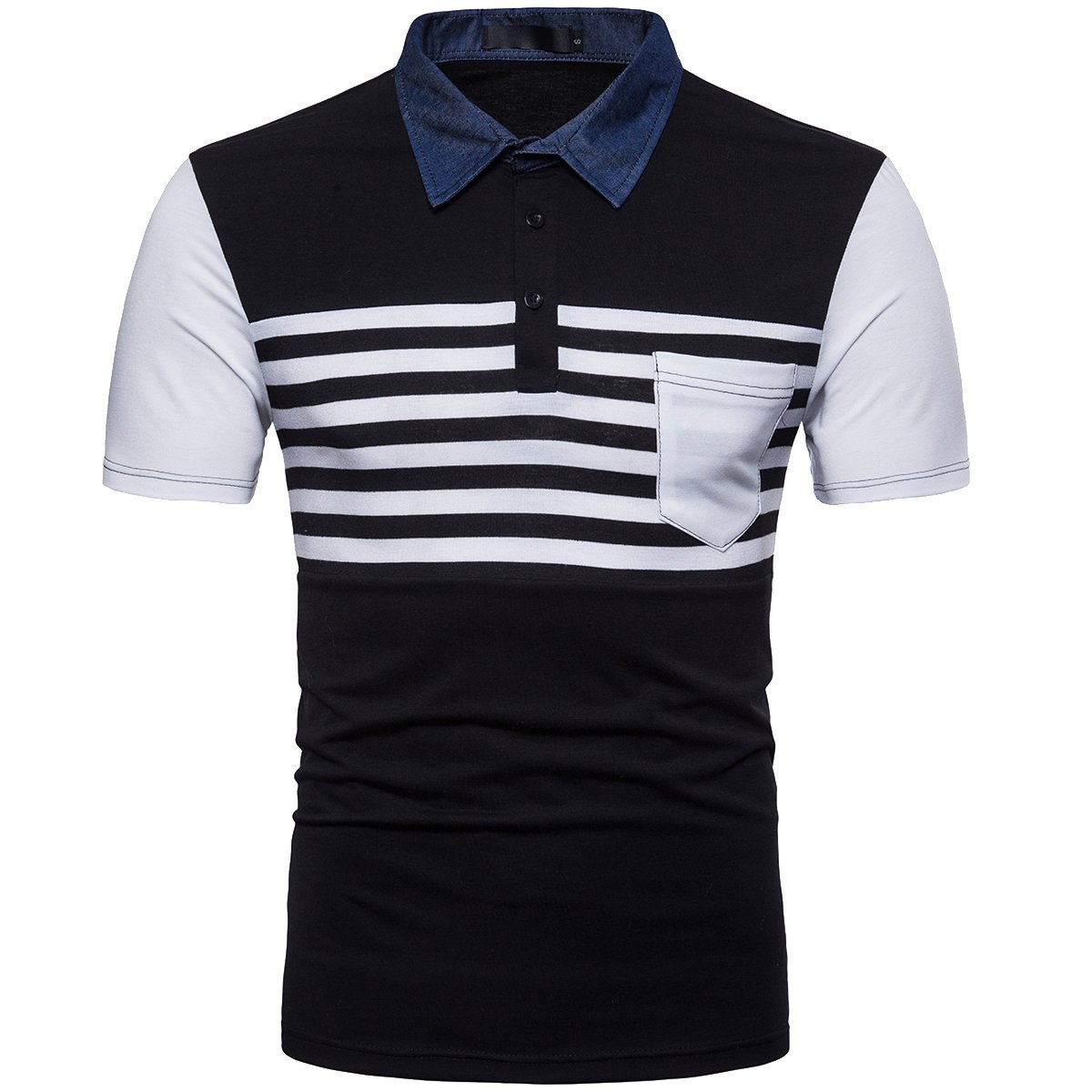 Cottory Mens Casual Slim Fit Striped Polo Tee Shirt with Pocket