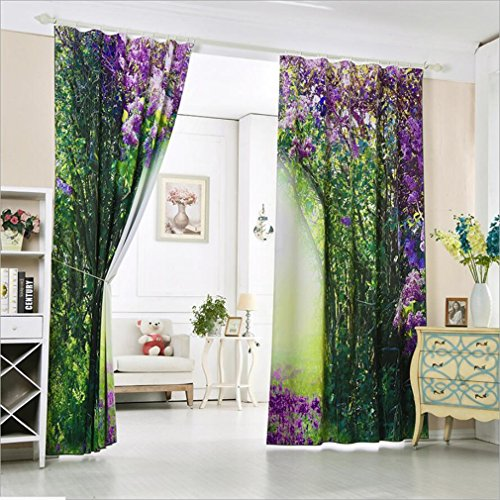 3D Curtains Purple Romantic Dream Fairy Tale Shade Jungle Three-dimensional Printed Curtains Room - Bedroom - Kitchen - Office - Hotel - Villa ( Size : 3.2x2.7M ) by YAN