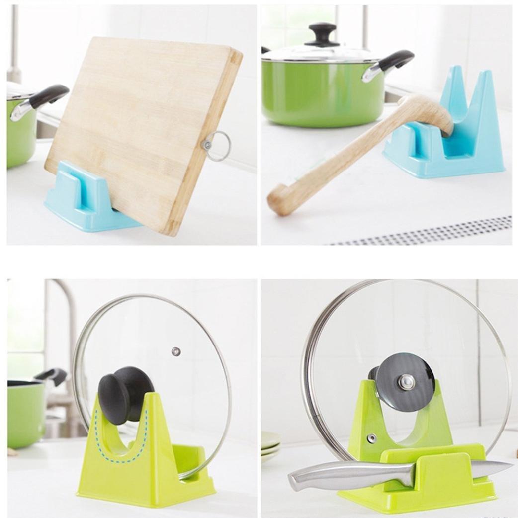 Creazy Spoon Rack Rest Pot Pan Lid Rack Stand Holder Kitchen Cooking Utensil Tool