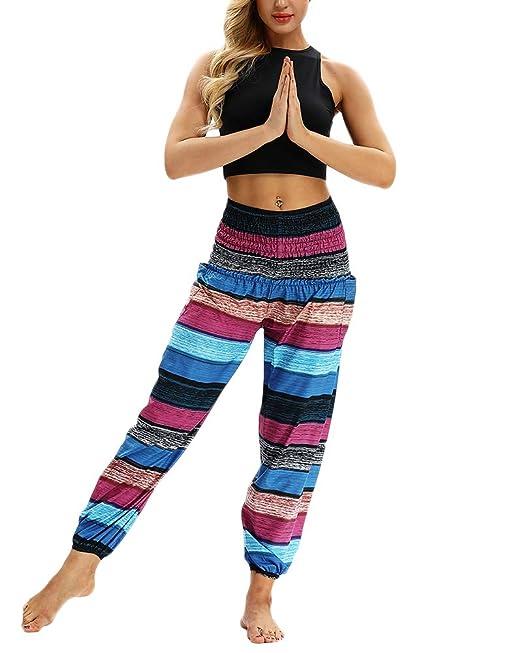 Mujeres Harén Pantalon Baggy Casual Pantalón Hippie ...