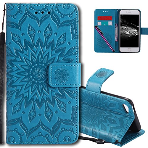 iPod Touch 6 Flip Case COTDINFORCA Emboss Mandala with Card Holder Slot Pockets, Wrist Strap, Magnetic Closure Premium PU Leather Case Cover For Apple iPod Touch 5th/6th. Mandala Blue ()