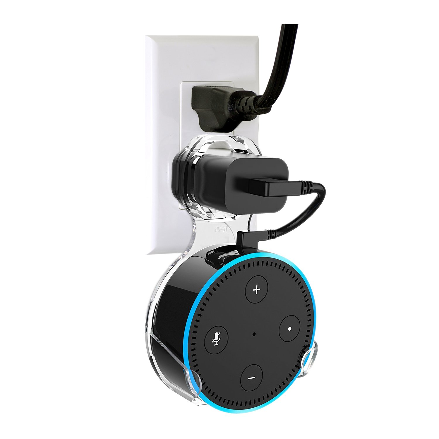 Wall Mount Hanger Holder Stand Echo Dot 2nd Generation Some Round Speakers,Without Messy Wires Screws,A Space-Saving Solution Your Smart Home Speakers (Transparent,1-Pack)