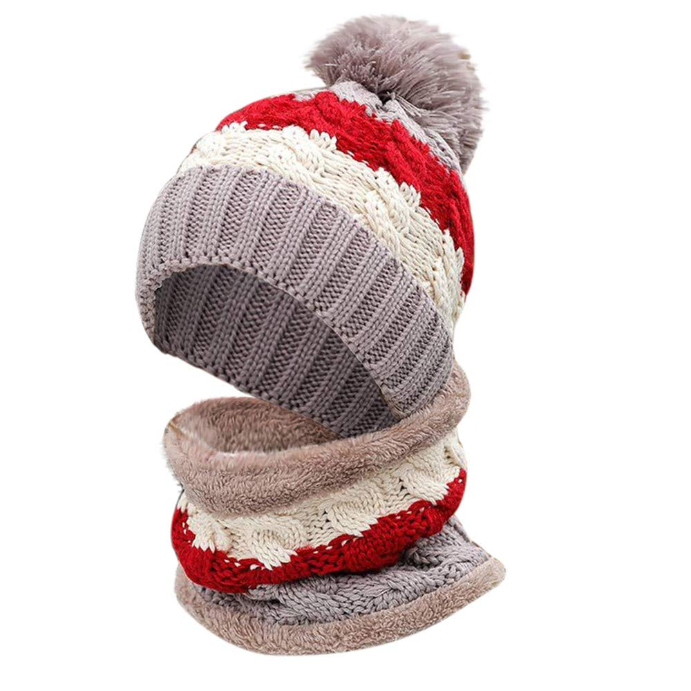 Dream Room Womens Winter Slouchy Thick Beanie Pompom Hat Bib Warm Velvet Ear Warmer Caps