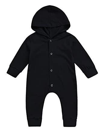 e968c7a79f4d Amazon.com  Baby Boys Girls Clothes Long Sleeve Hoodie Romper Black ...