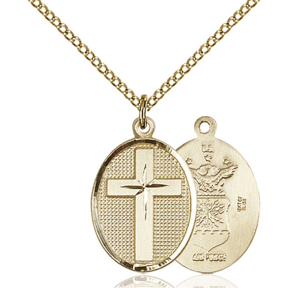 Gold Filled Cross / Air Force Pendant 7/8 x 1/2 inches with Gold Filled Lite Curb Chain by Bonyak Jewelry Saint Medal Collection