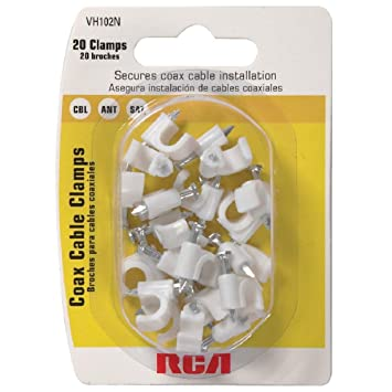 Thomson Inc. - Lote de 6 abrazaderas para cable coaxial RCA (VH102N) (20 unidades), color blanco: Amazon.es: Bricolaje y herramientas