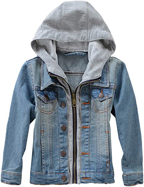 Boys Girls Kids Hoodies Denim Jean Jacket Hooded Trench biker Coat Sweatshirt