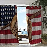 GUUVOR Balcony Curtains, Vintage Baseball League Equipment with USA American Flag Fielding Sports Theme, Outdoor Patio Curtains Waterproof with Grommets W108 x L108 Inch Brown Red Blue