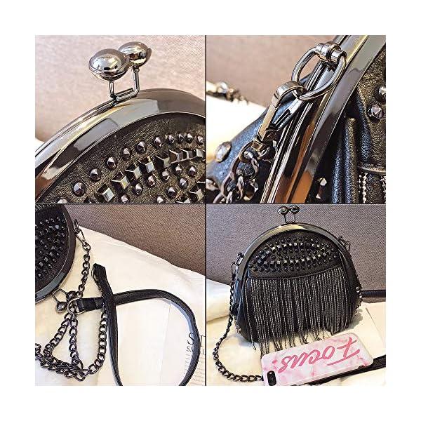 Punk Style Crossbody Bags for Women Rivet Tassel Evening Clutch Purse Ladies Black Chains Shoulder Bag