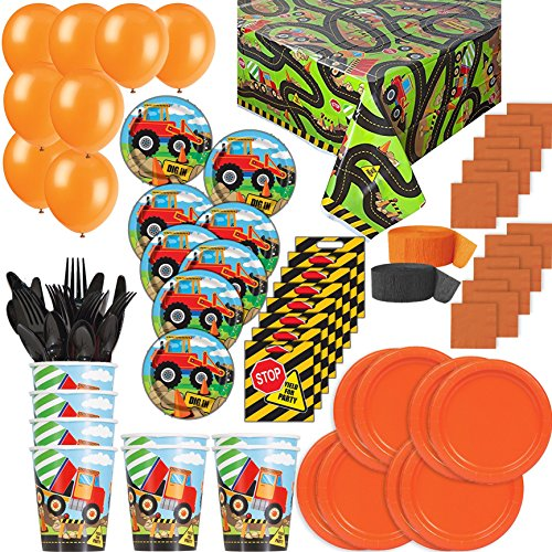 Construction Party Pack For 8. Great for Birthday. Plates, Cups, Napkins, Cutlery, Table Cover, Balloons, Streamers, Loot Bags