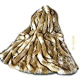 Luxury Fur Brown Fox Throw Blanket Plush Faux Fur Face with Minky Cuddle Fur Lining Any Size (5'x8')