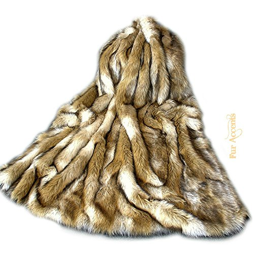 Luxury Fur Brown Fox Throw Blanket Plush Faux Fur Face with Minky Cuddle Fur Lining Any Size (5'x8') by Fur Accents