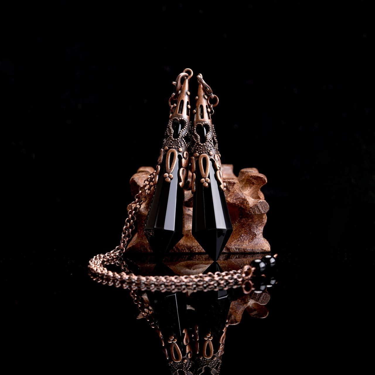 CrystalTears Natural Black Obsidian Healing Crystal Pendulum Antique 12 Facet Chakra Crystal Point Pendant Pendulum for Dowsing Divination Reiki Healing Meditation