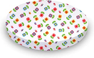 product image for SheetWorld Fitted 100% Cotton Percale Oval Sheet, Fits Stokke Mini 23 x 29, Colorful Roses, Made in USA