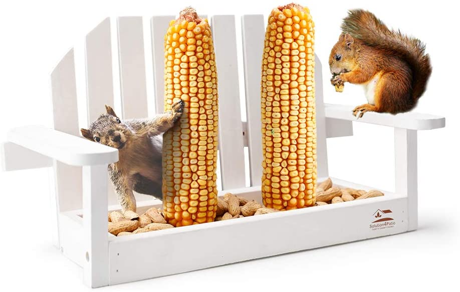Solution4Patio White Bench Chair Chipmunk & Squirrel Feeder, Pine Wood, 2 Corn Cob Holders, Peanut or Acorn Loader Mesh Bottom, 13 in. L x 5.1 in. W x 8.3 in. H, Funny Gift & Deco, B103A02