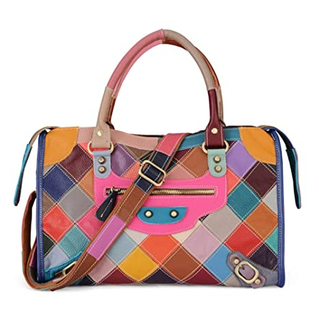 51dd9ae2632f Amazon.com : Leather Top Layer Cowhide Female Handbag, Multi-Colored ...