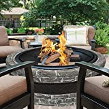 Most Popular Cast Stone Rock Large 35'' Round Circular Beautiful Wood Burning Fire Pit Circular Arc Warming Space Center- Perfect For Patio Pool Deck Yards- Mesh Screen Spark Protection- Contemporary