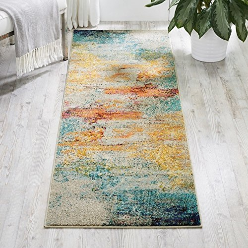 ON 2'2 x 7'6 Multi Color Tropical Island Ocean Blue Sky Sealife Runner Rug, Polypropylene Bright Vibrant Contemporary Abstract Sand Sea Nature, Indoor Rectangle Living Room Bedroom Area Rug