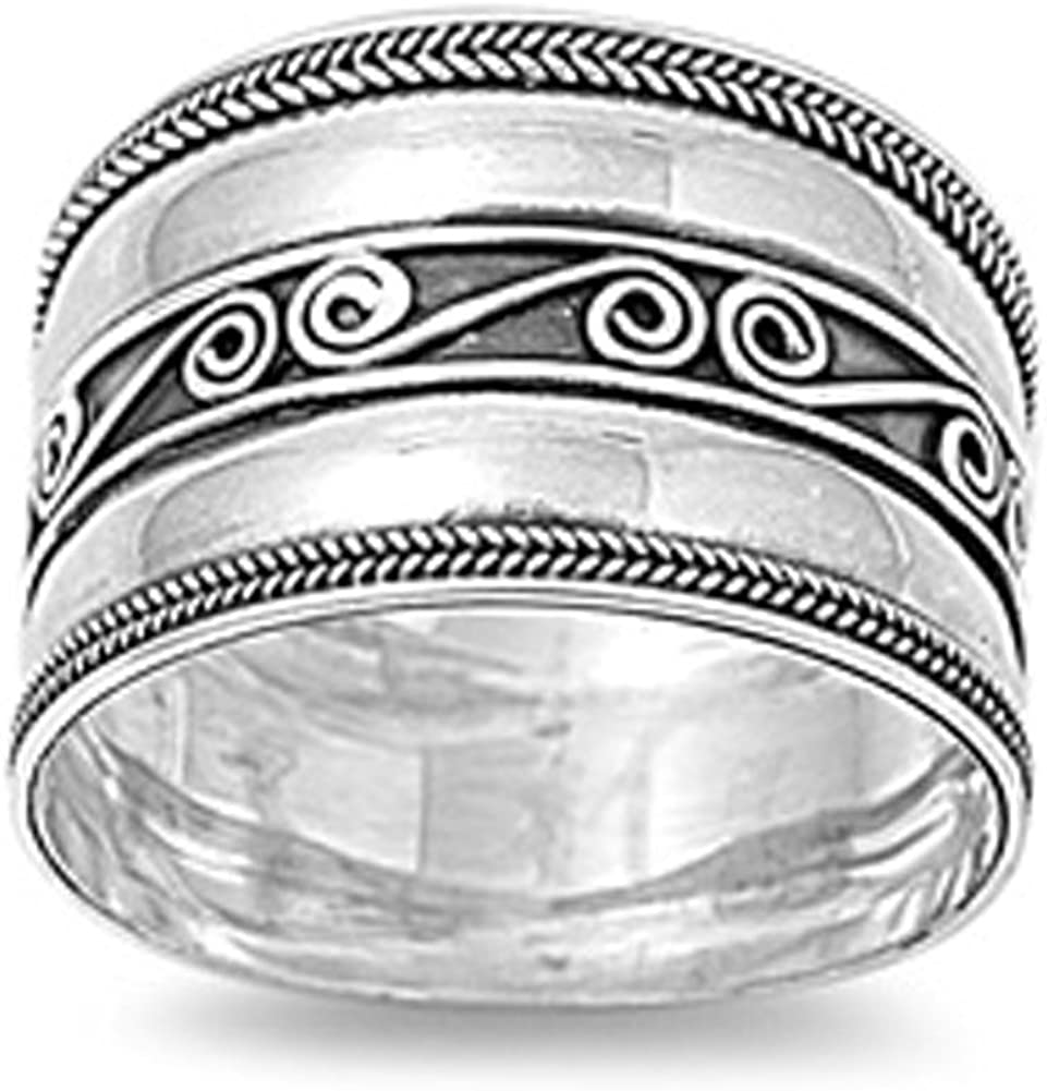 Bali Braid Swirl Wide Polished Thumb Ring .925 Sterling Silver Band Sizes 6-12