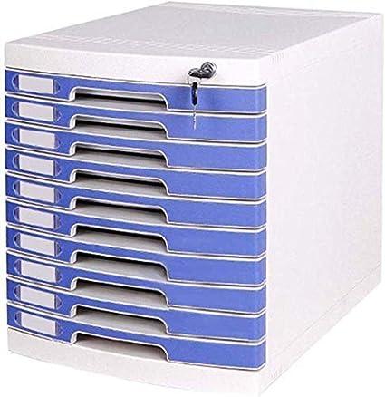 Archivadores A4 con 10 cajones con cerradura para escritorio, oficina, caja de almacenamiento, 29,5 x 39,4 x 32,5 cm: Amazon.es: Oficina y papelería