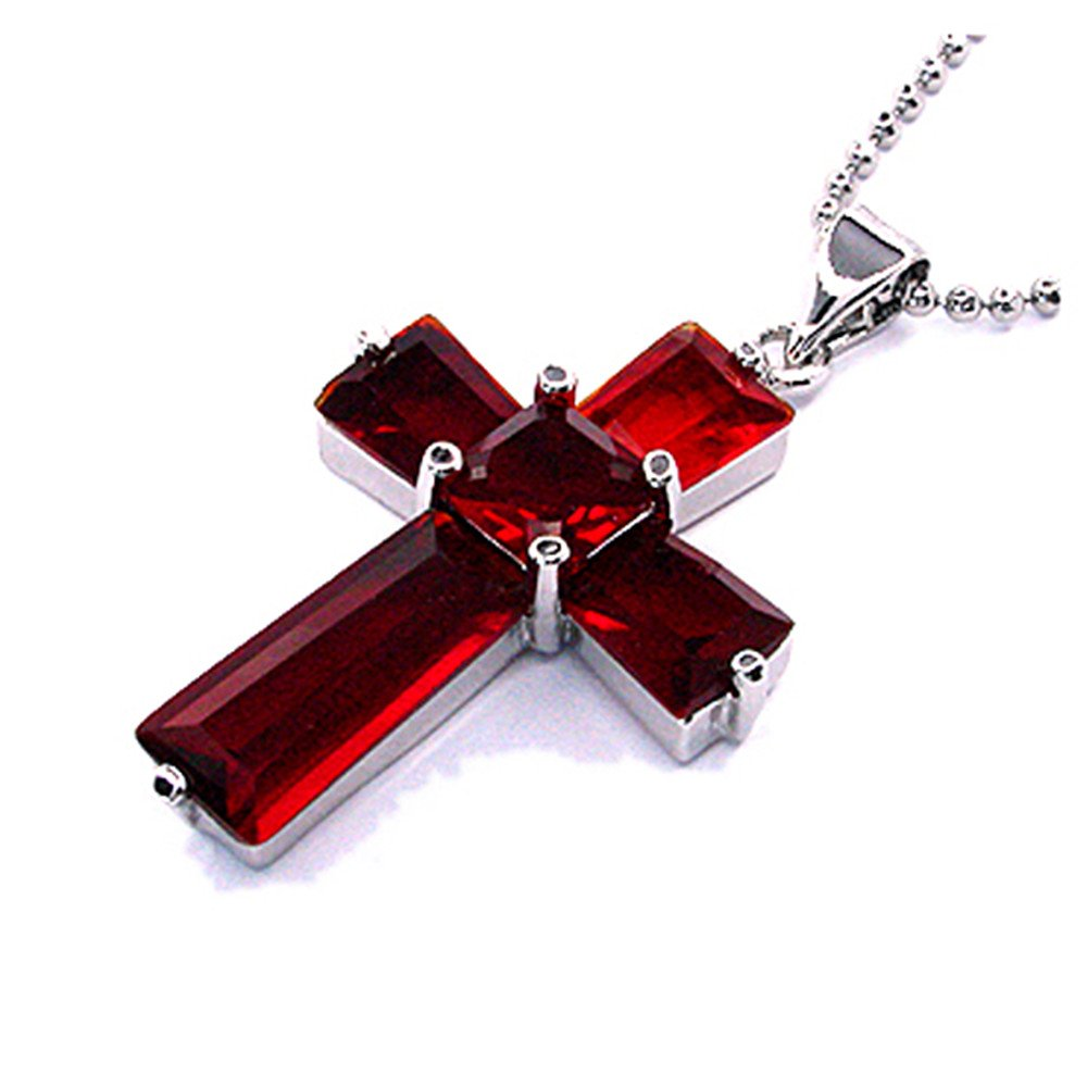 Simple Modern Elegant 7 Colors Available RIZILIA Cross Pendant with 18 Chain /& Trapezoid Square Cut CZ in White Gold Plated