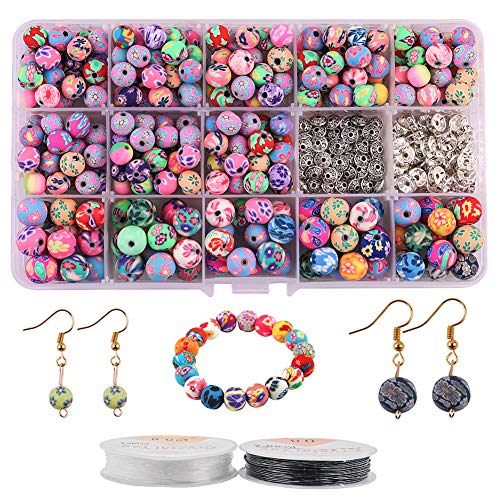 Dushi 370pcs Clay Beads Polymer Clay Jewelry Chunky Flower Round Bead Bulk Assorted Colorful Pattern Handmade Loose Beads Jewelry Making Spacer Bulk Beads Crystal String for Jewelry Making8mm/10mm