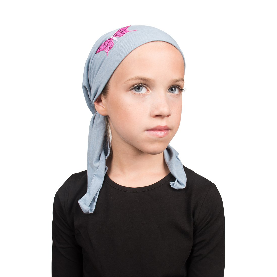 Sequin Butterfly Applique on Child's Pretied Head Scarf Cancer Cap Landana Headscarves ldptk-a23-black