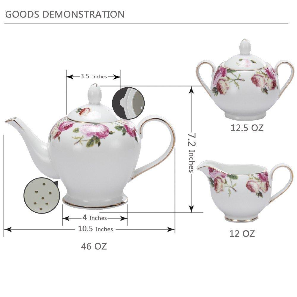 Porlien Tea Set, Rose Camellia, Porcelain Gift Set (6 teacup sets with teapot) by Porlien (Image #2)