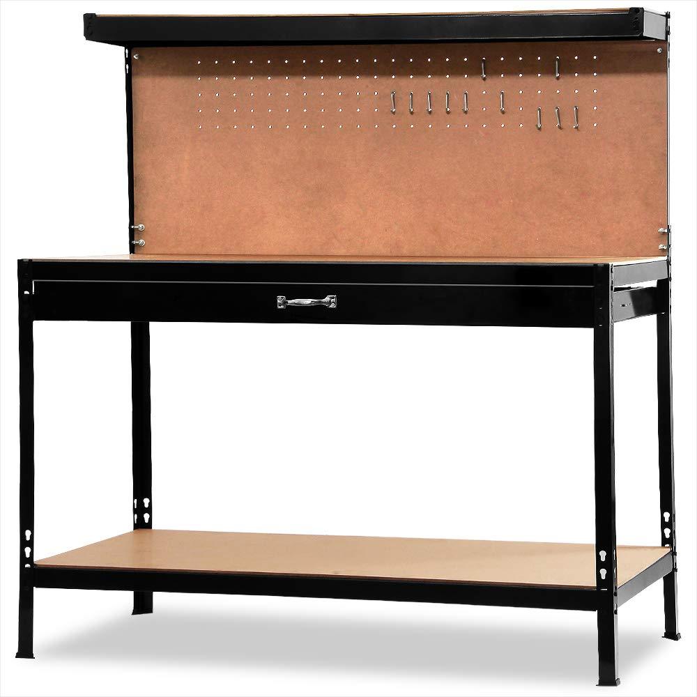 Deuba/® Werkbank Lochwand Werkstatttisch Packtisch Werktisch Werkzeugwand XXL 150x120x60cm Profi Ausf/ührung