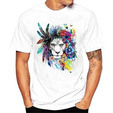 Camisetas Blancas con Estampado De LeóN Hombre LHWY, Remera Abanderado Talla Grande Camisetas Suelto Cuello