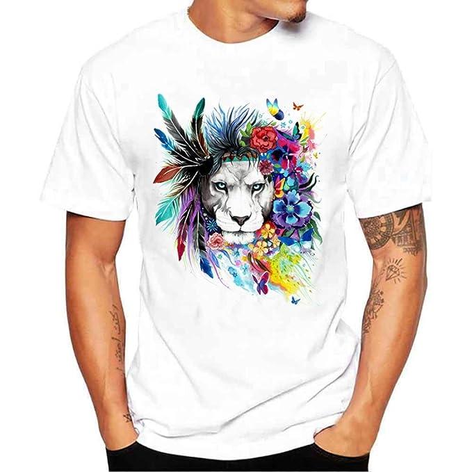 Camisetas Blancas con Estampado De León Hombre LHWY 4b72fe5e7b833