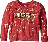 Chaser Kids Baby Girl's Cozy Fleece Presents Raglan Sweatshirt (Toddler/Little Kids) Cardinal Stars 4