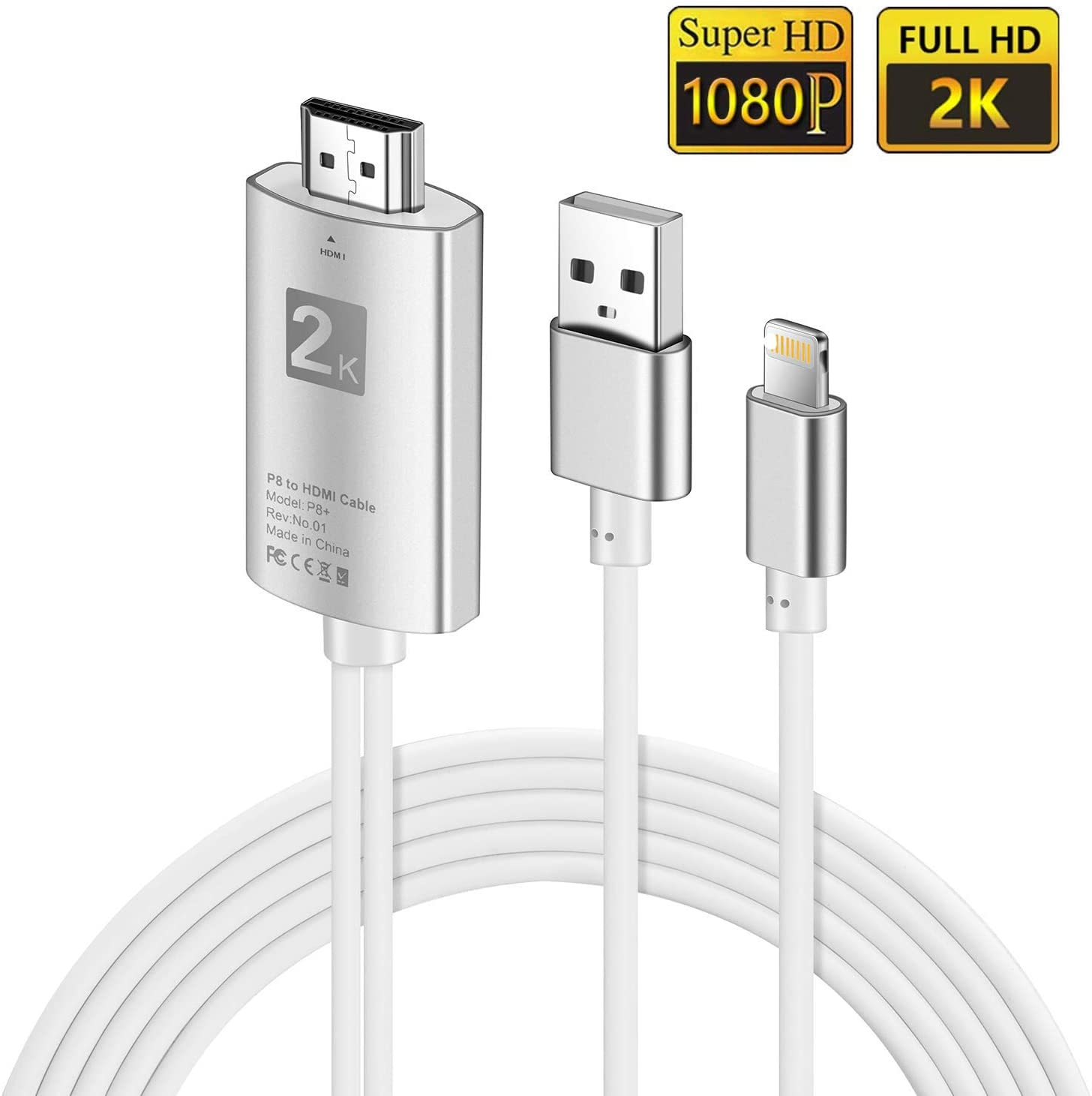 FLYFLY HDMI Cable Adaptador 1080P Digital AV a HDMI Transmitir Audio Video TV Proyector Cable para Phone XS/XS MAX/XR/X/8/7 /6/5 Series/Pad Air/Mini/Pro/iPod Touch(6.5ft): Amazon.es: Electrónica