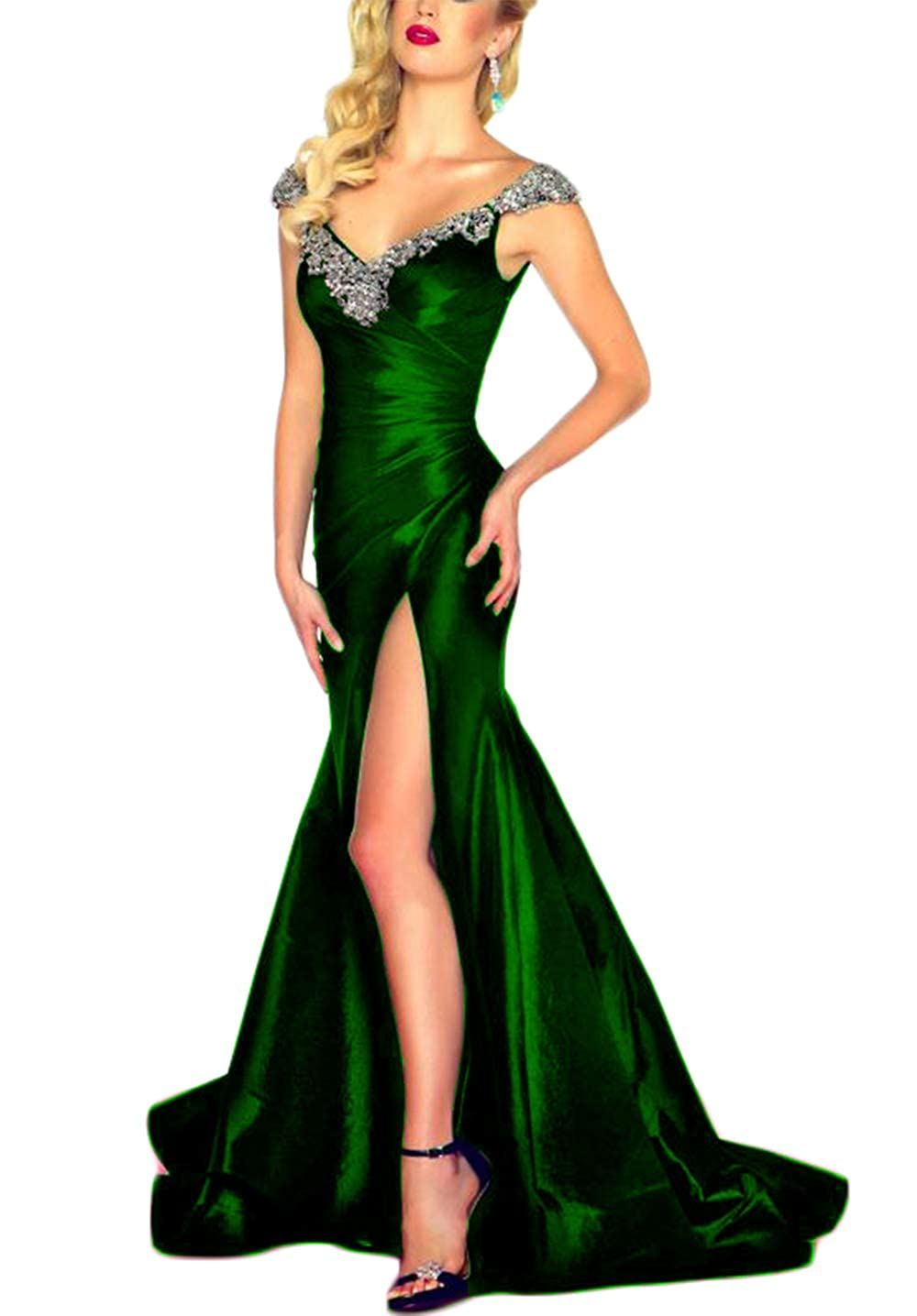 Emerald Green SDRESS Women's Beaded Crystals Cap Sleeve V Neck Spit Side Prom Dress 2018