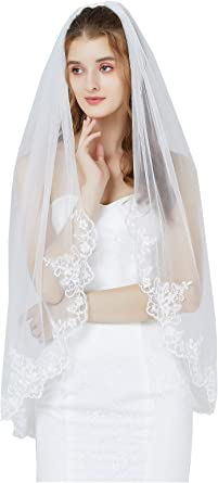 Ivory AK Beauty Womens One Layer Wedding Accessories Bridal Veils White /& Ivory