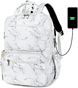 School Backpack Vintage USB Laptop Backpacks for Men Women Rucksack Bookbags with Luggage Strap (Marble - 8698)