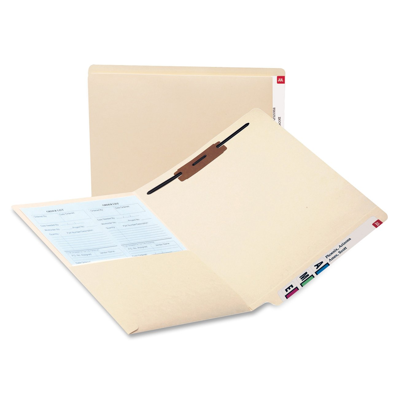 Smead 34100 Reinforced End Tab Pocket Folder, Fastener, Straight Cut, Letter, Manila (Box of 50)