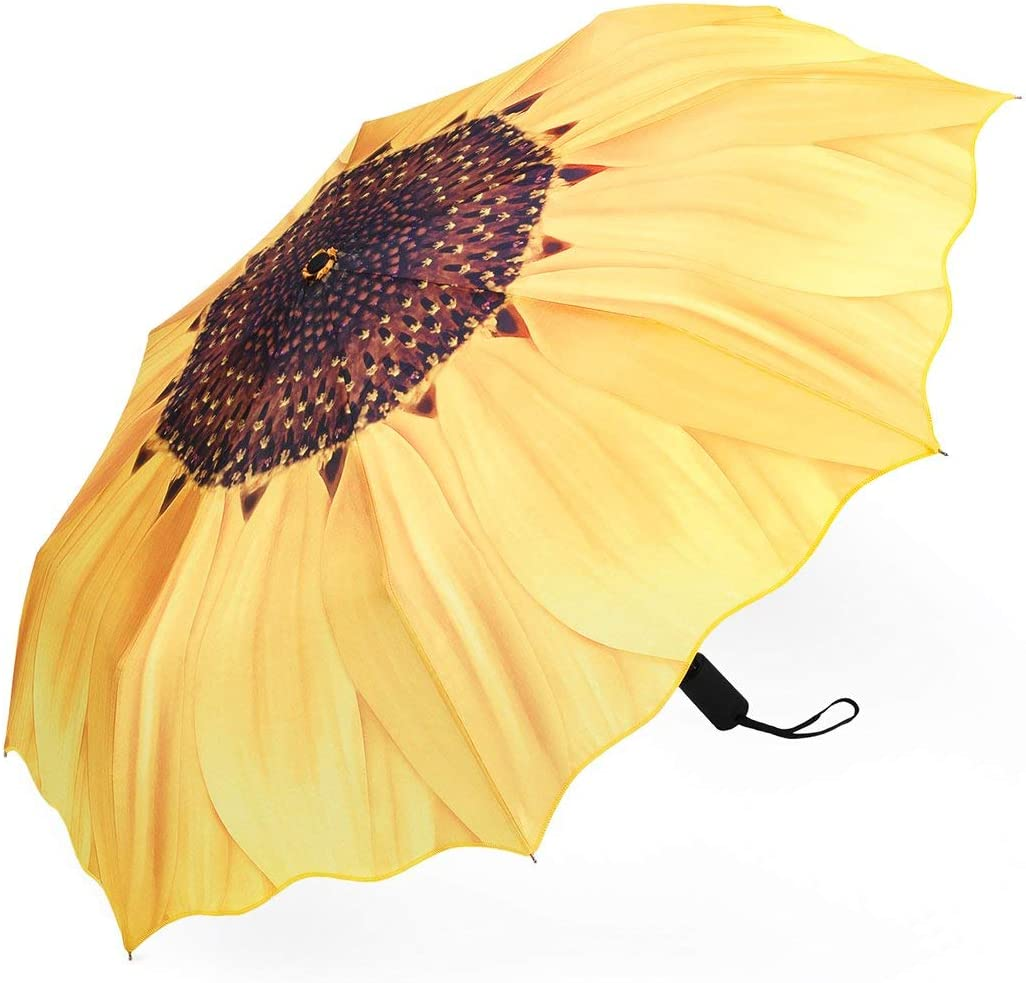 Women Large Umbrella Monet Bouquet Of Sunflowers Vase On Table Portable Compact Folding Umbrella Anti Uv Protection Windproof Outdoor Travel Women Reversable Umbrella Large