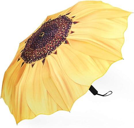 Folding Umbrella with Sunflower, Compact & Lightweight