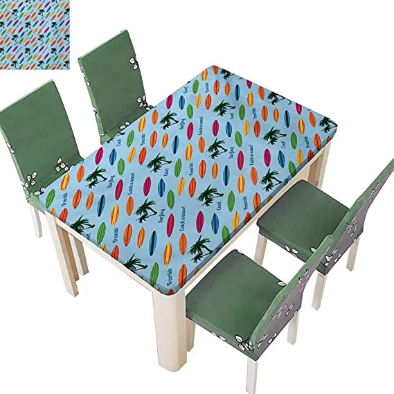 ... Vacation Palm Trees and Colorful Boards Water Sports Fun Activities Plastic Table Cloths for Parties,37.5W X 76.5L Inches(Elastic Edge): Home & Kitchen