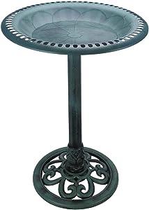 VCUTEKA 28 Inch Height Birdbath Lightweight Pedestal Bird Bath for Outdoor Garden (Green)