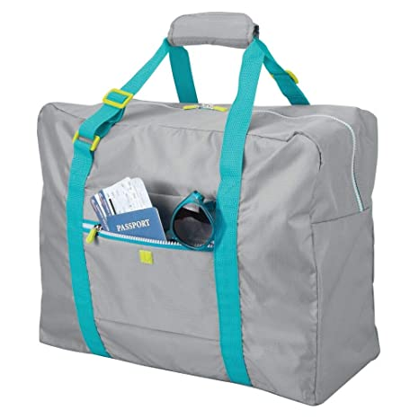 mDesign Bolsa de viaje – Ligera maleta de cabina con cremallera y asas, ideal como