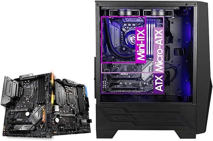 MSI MAG FORGE 100M Mid-Tower - Caja de PC Gaming (2 x 120 mm ARGB + 1 x 120 mm Ventiladores Incluidos, Panel Cristal Templado, ATX, mATX, Mini-ITX), negro: Amazon.es: Informática